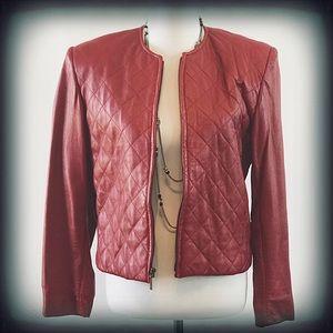 Valarie Stevens Red Retro Leather Jacket EUC